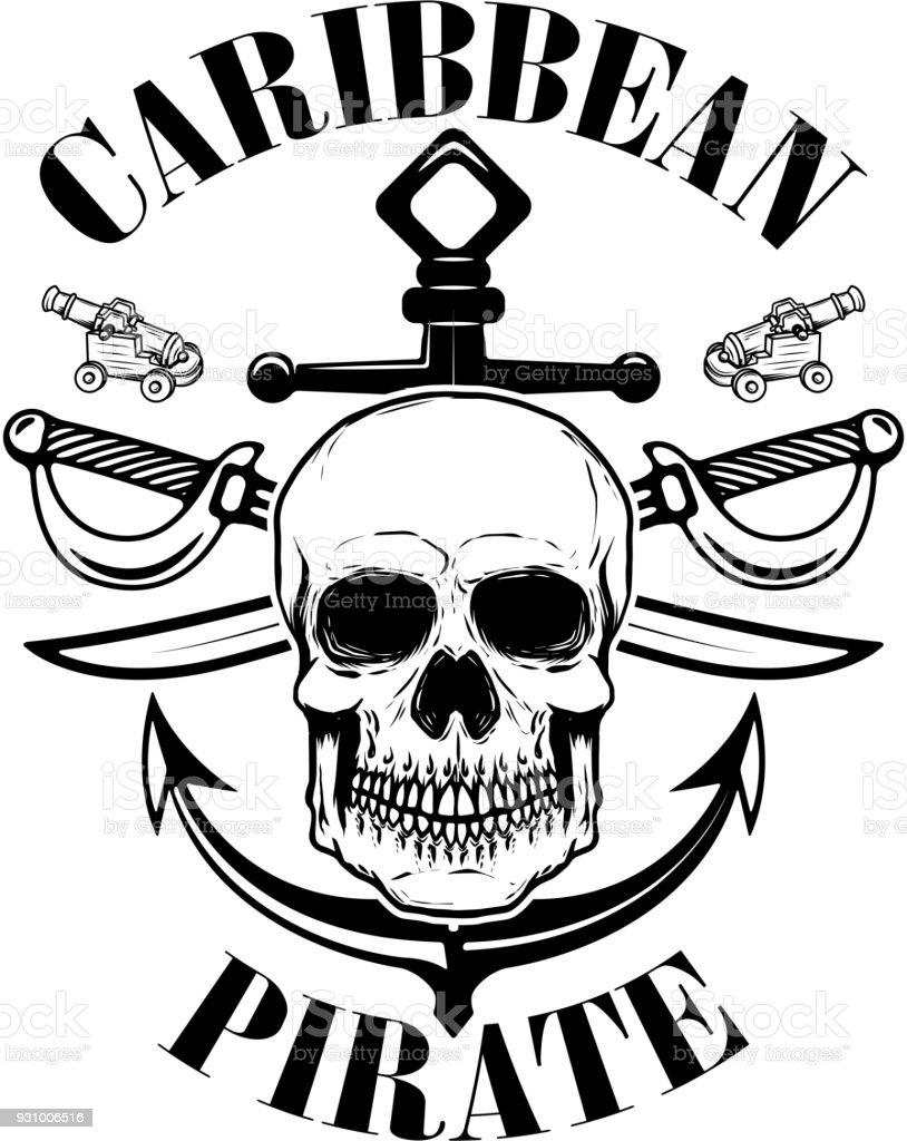 Piraten. Emblem-Vorlage mit Schwertern und Piraten Schädel. Gestaltungselement für Label, Wahrzeichen, Zeichen. – Vektorgrafik