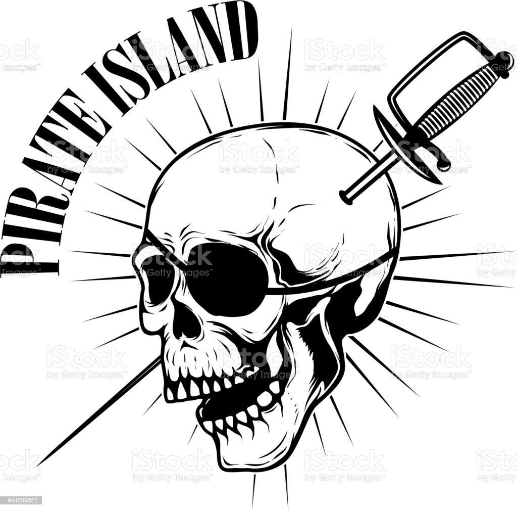 Piraten Emblemvorlage Mit Schwertern Und Piraten Schädel ...