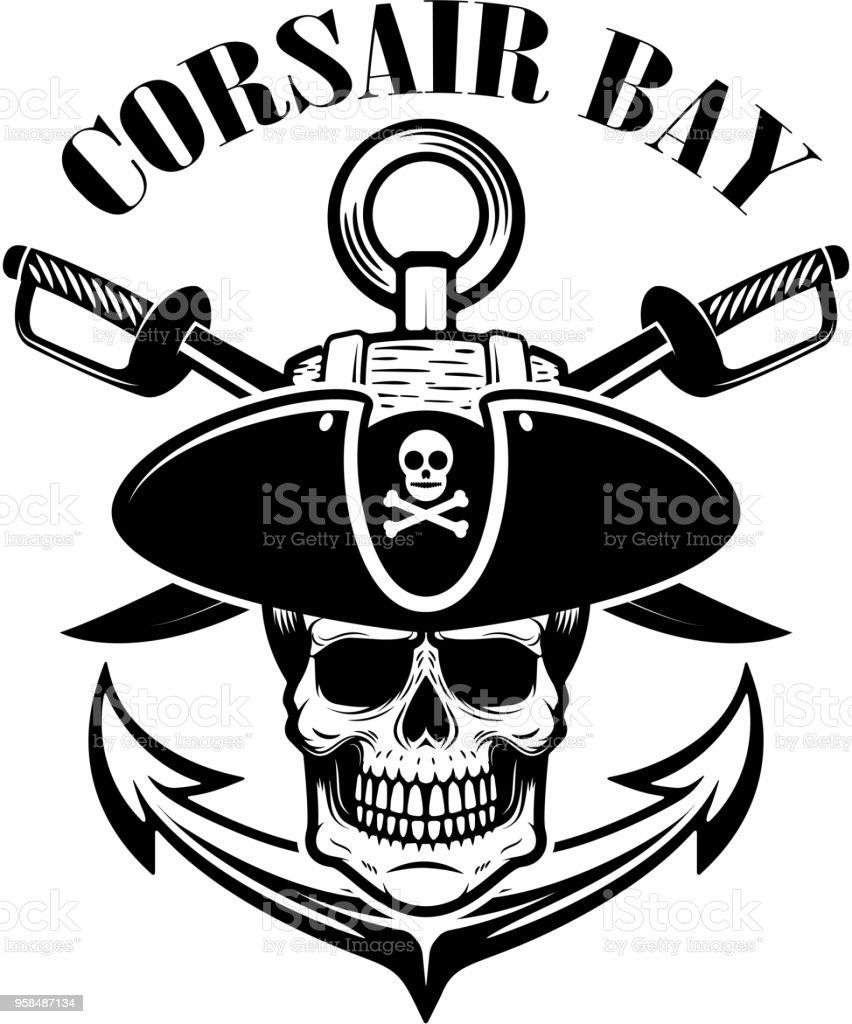Ilustración de Piratas Plantilla Del Escudo Con Espadas Y Calavera ...