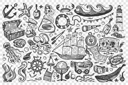 Pirates hand drawn doodle set