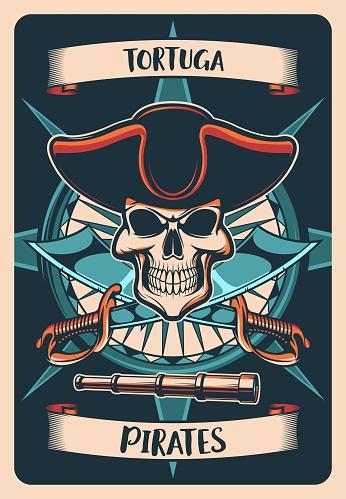 Pirates heraldic poster, t-shirt print jolly roger