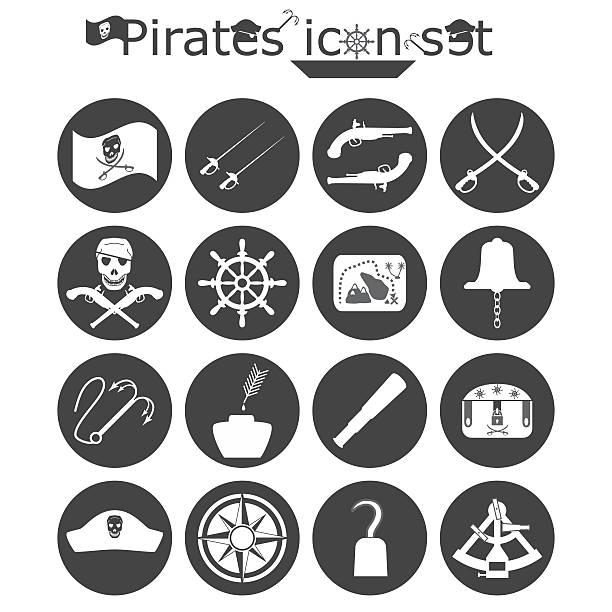 ilustrações de stock, clip art, desenhos animados e ícones de piratas conjunto de ícones - sextante