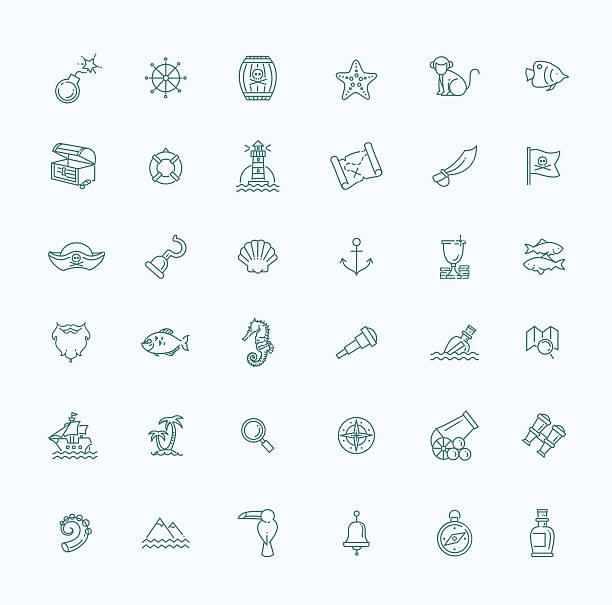 ilustrações, clipart, desenhos animados e ícones de conjunto de ícones do pirates - mapas de tesouro