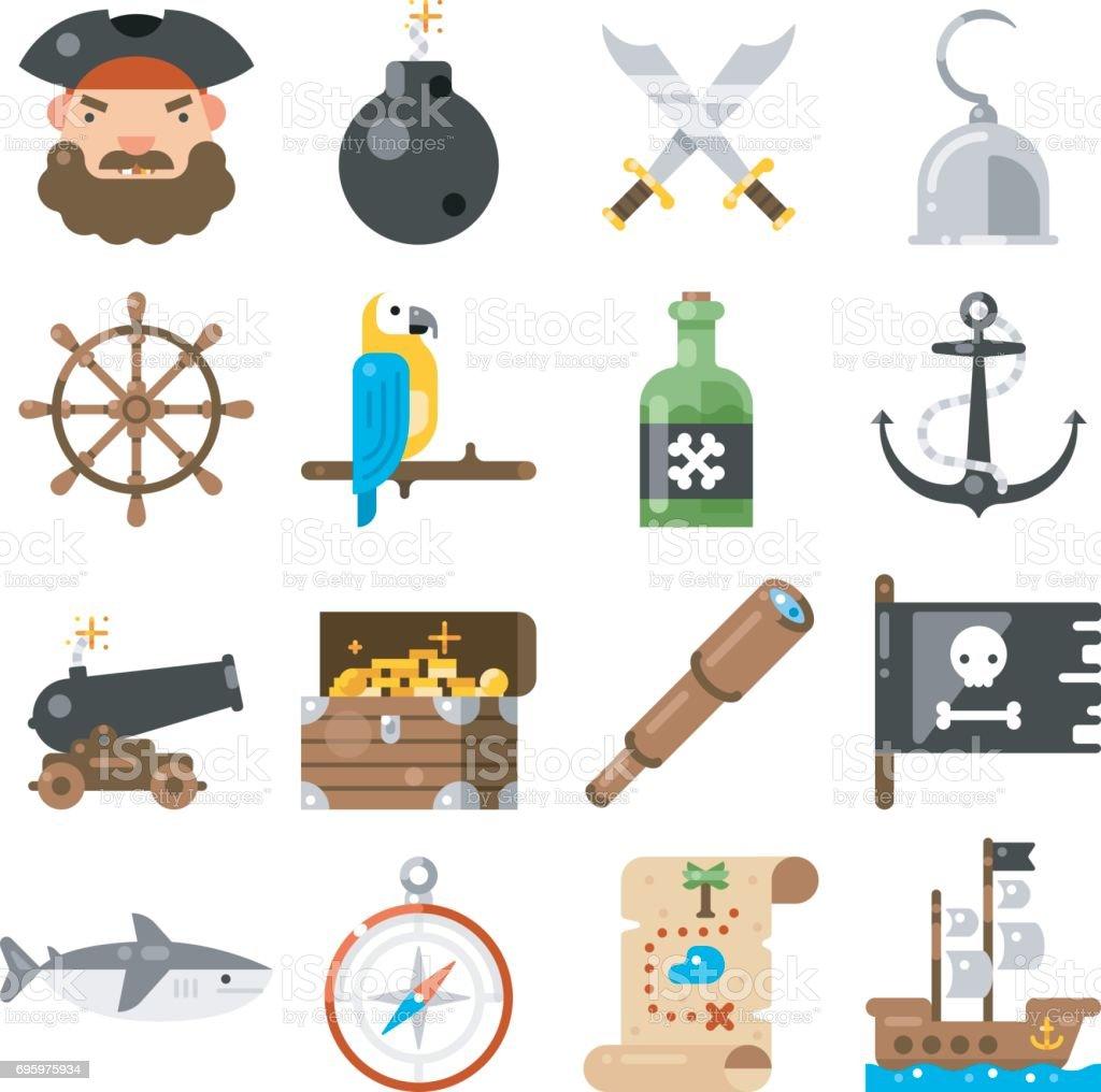 Pirates icons vector set on white background. vector art illustration