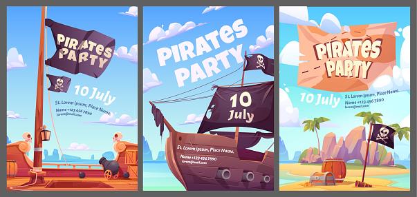 Pirates party kids adventure cartoon posters set
