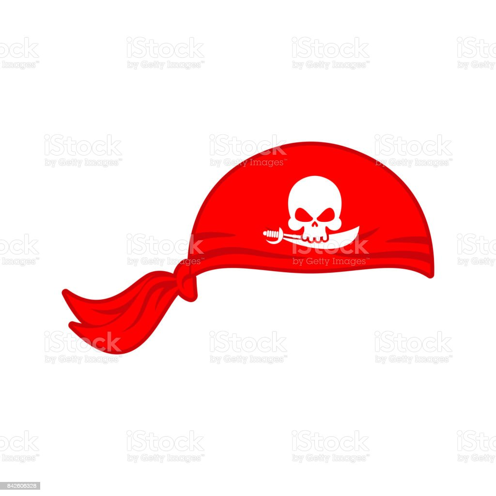 Pirates red Bandana cap isolated. Hat buccaneer. Bones and skull. Corsair Accessory vector art illustration