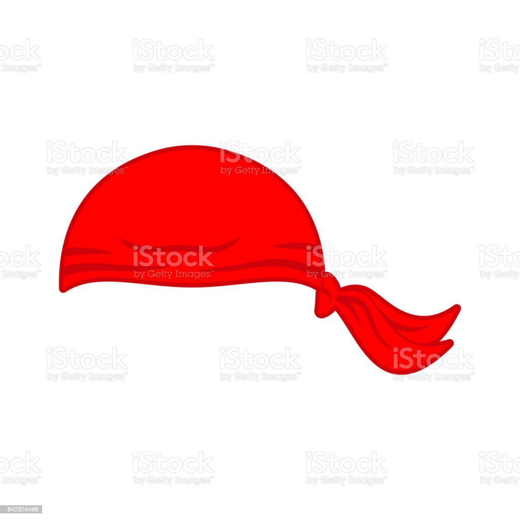 Pirates red Bandana cap isolated. Hat buccaneer. Corsair Accessory vector art illustration