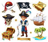 Pirates set. Boy, treasure chest, map, flag, ship, island. 3d cartoon vector icon
