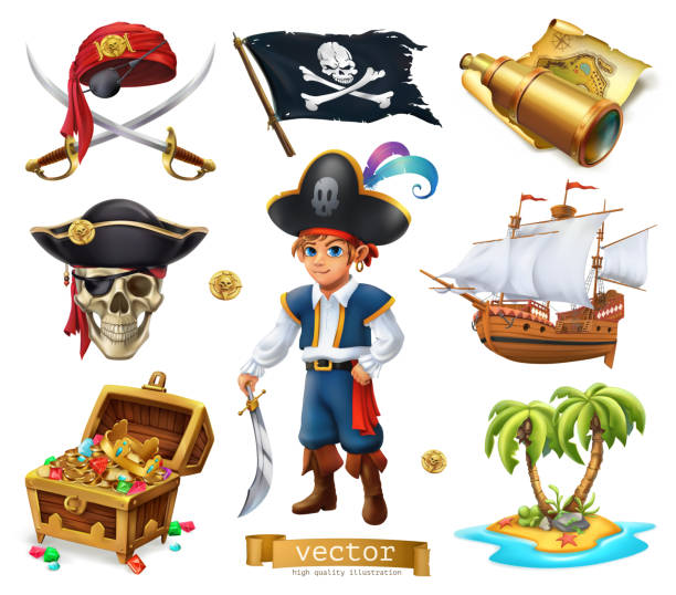Pirates set. Boy, treasure chest, map, flag, ship, island. 3d cartoon vector icon Pirates set. Boy, treasure chest, map, flag, ship, island. 3d cartoon vector icon seyahat noktaları illustrationsları stock illustrations