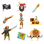 Pirates set, pirate adventures accessories, black flag with ckull and bones, sabre, treasure map, chest vector Illustration on a white background