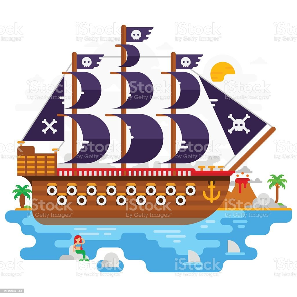 pirates ship in the sea flat design illustration stock vector art