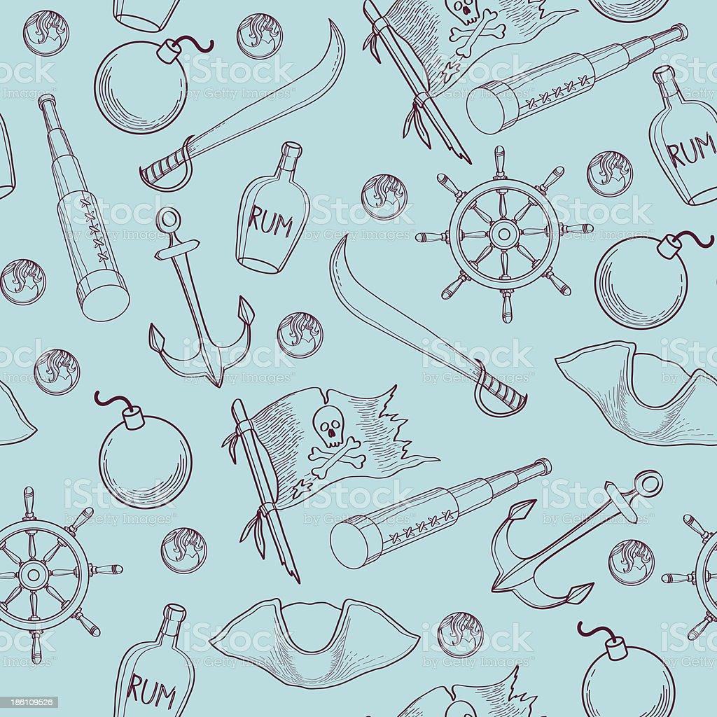 Pirates stuff pattern royalty-free stock vector art