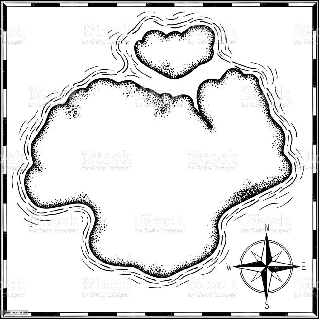 Carte Au Tresor Noir Et Blanc.Pirates Tresor Carte Dessine A La Main Dessin Anime Noir A