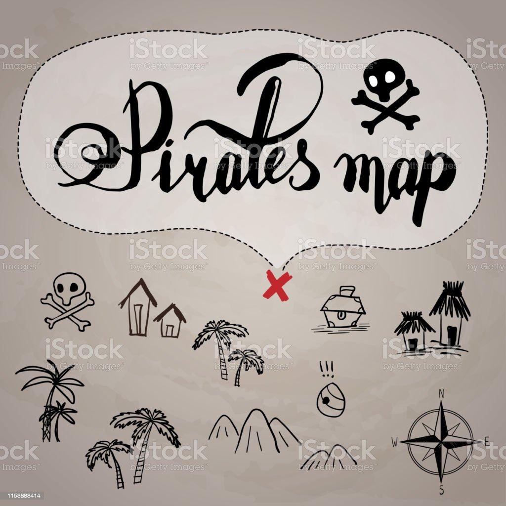 Pirates Carte Au Tresor Main Dessine Dessin Anime Encre Noire Sur