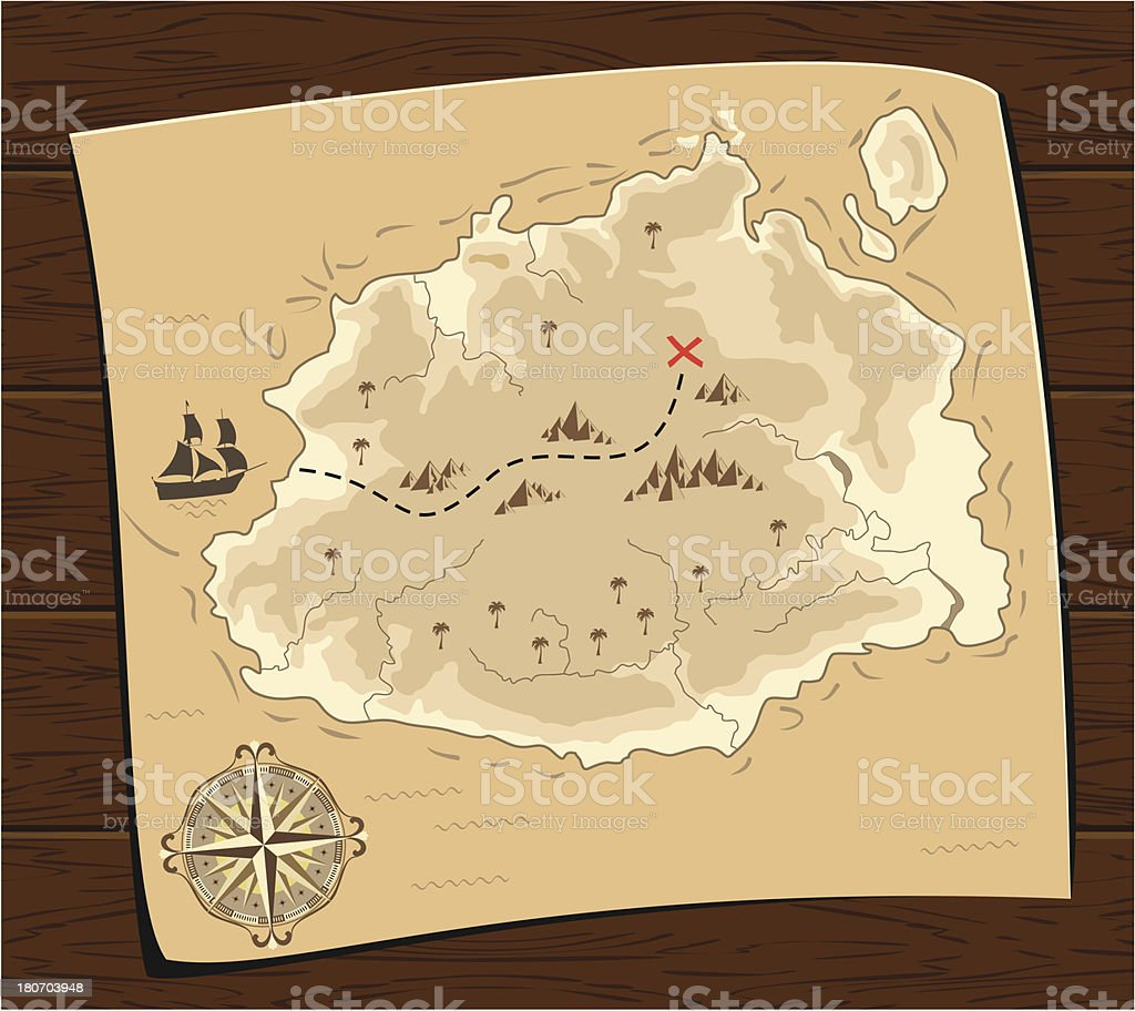 Pirates Treasure Map vector art illustration