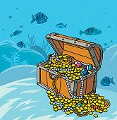 Vector Pirate's Treasure under the Sea
