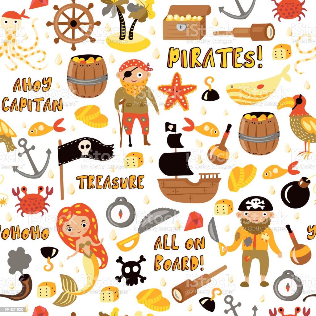 Vetores De Piratas De Vetor Padrao Sem Emenda Dos Desenhos
