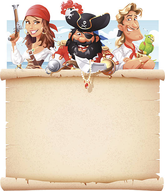 pirates with letter of marque - pirates stock illustrations, clip art, cartoons, & icons