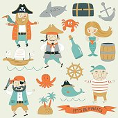 Vector pirate set with cute pirates, mermail, ship, whale, octopus, crab, ship, steer wheel, anchor and other marine attributes.