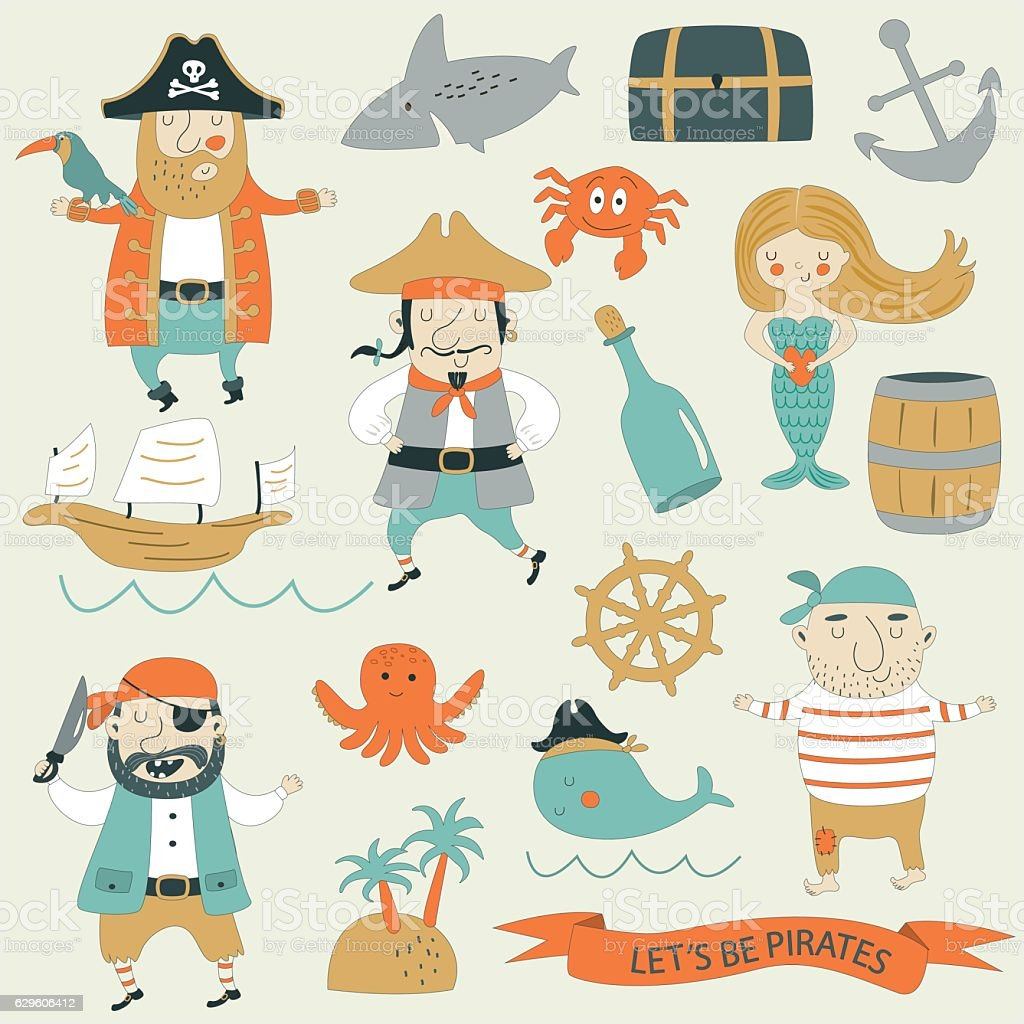 piratesetwithstroke vector art illustration