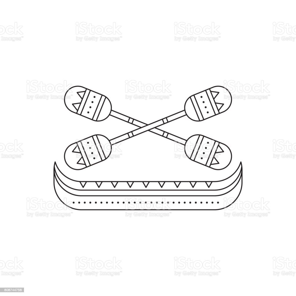 Pirogue with oars line icon vector art illustration