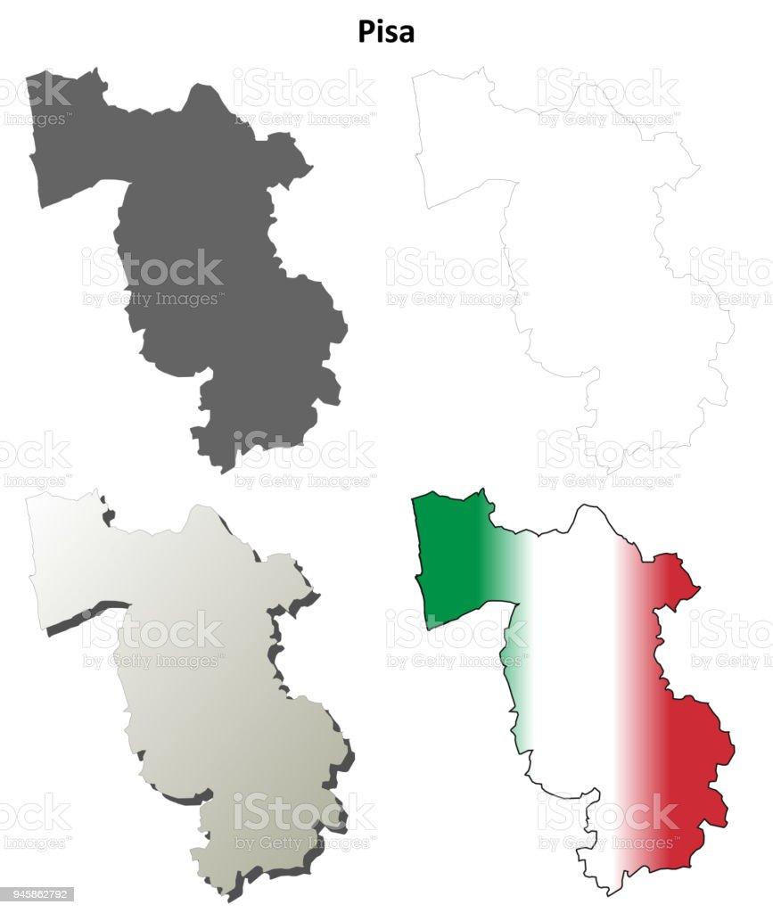 Pisa Karte.Pisa Leer Detaillierte Gliederung Karte Gesetzt Stock Vektor Art Und
