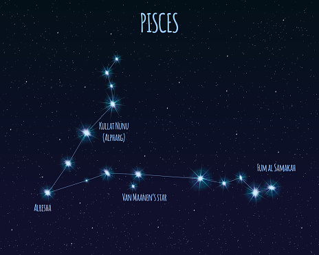 Pisces Constellation Vector Illustration With The Names Of ...