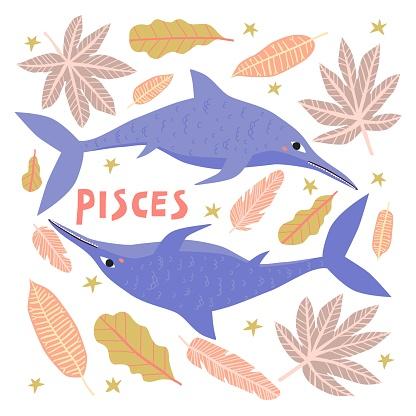 Pisces dinosaur cartoon character vector illustration