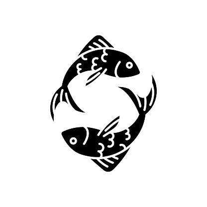 Pisces zodiac sign black glyph icon
