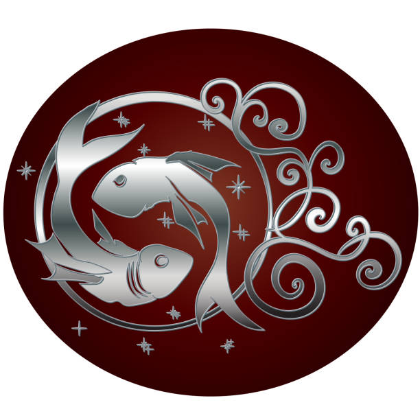 Royalty Free Silver Fishes Zodiac Pisces Sign Clip Art Vector