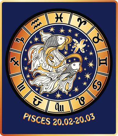 Pisces zodiac sign.Horoscope circle.Retro