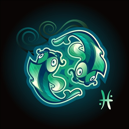 Pisces zodiac vector sign horoscope