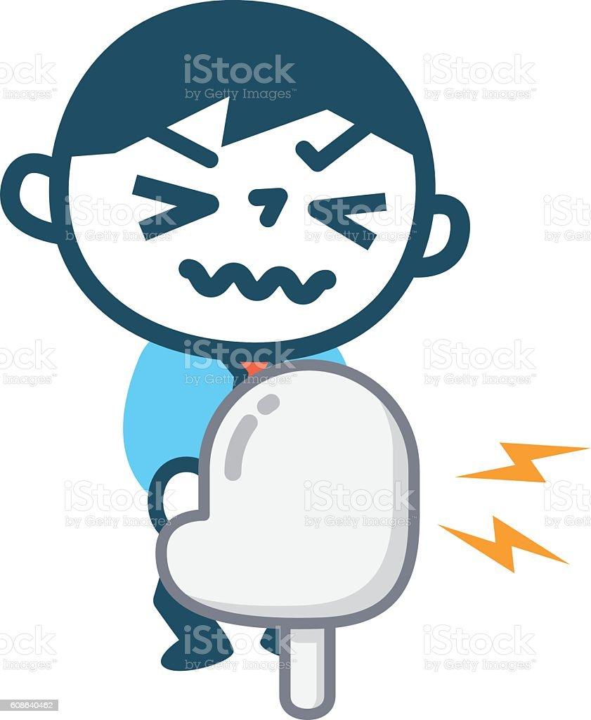 Pissing hurts man vector art illustration