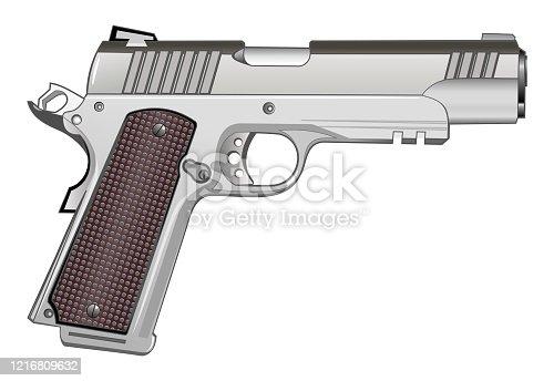 istock 1911 pistol isolated on white vector 1216809632