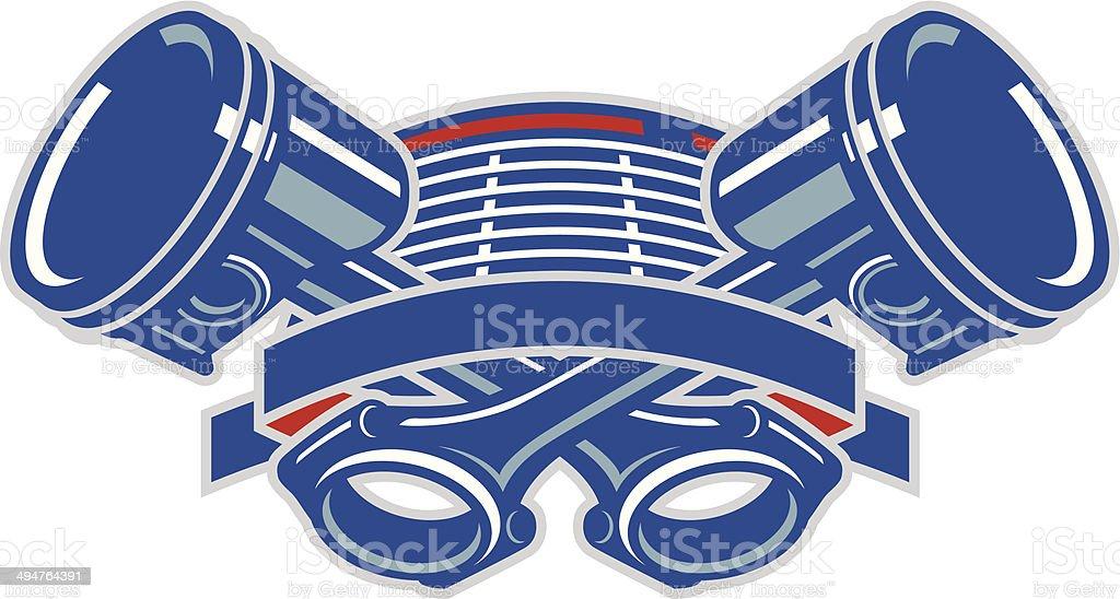 Piston Crest vector art illustration