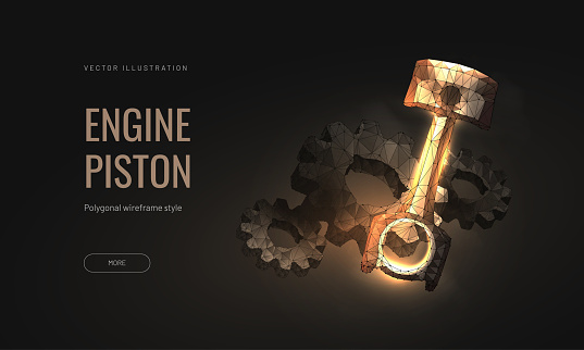 Piston engine car vector illustration isolated a black background