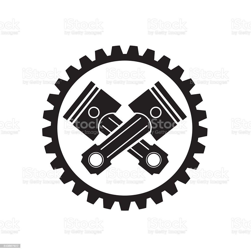 Pistons cars and gear vector art illustration