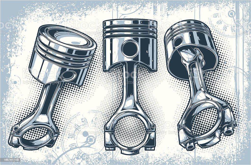pistons vector art illustration