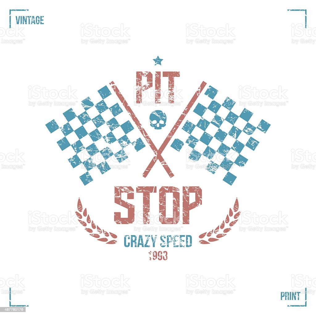 Pit stop emblem vector art illustration