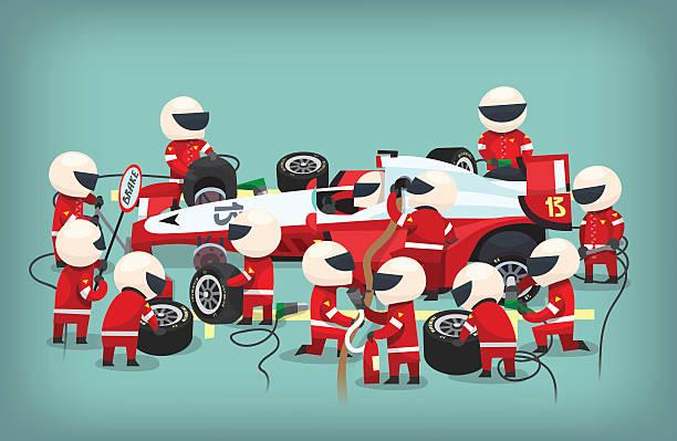 пит-стоп работников - formula 1 stock illustrations