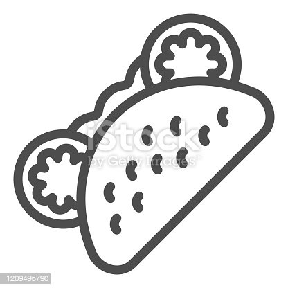 istock Pita bread line icon. Fast food vector illustration isolated on white. Tacos outline style design, designed for web and app. Eps 10. 1209495790
