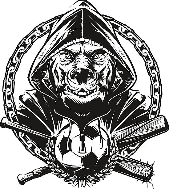 ilustrações de stock, clip art, desenhos animados e ícones de pitbull hools - soccer supporter portrait