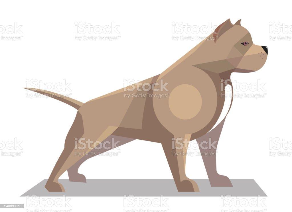 Pitbull minimalist image vector art illustration