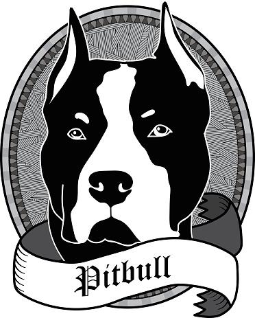 Pitbull Portrait. Isolated Vector dog Illustration