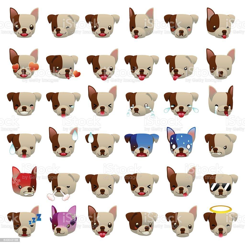 Pitbulls Dog Emoji Emoticon Expression vector art illustration