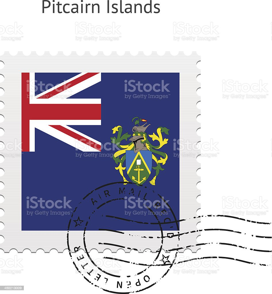 Pitcairn Islands Flag Postage Stamp royalty-free stock vector art