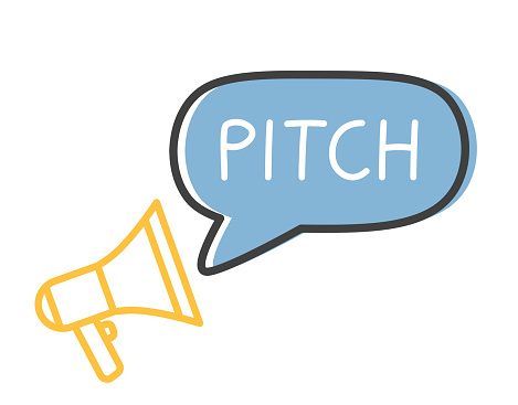 pitch word and megaphone icon - vector illustration