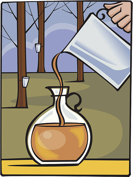Pitcher Maple Syrup C Pitcher Maple Syrup C maple syrup stock illustrations