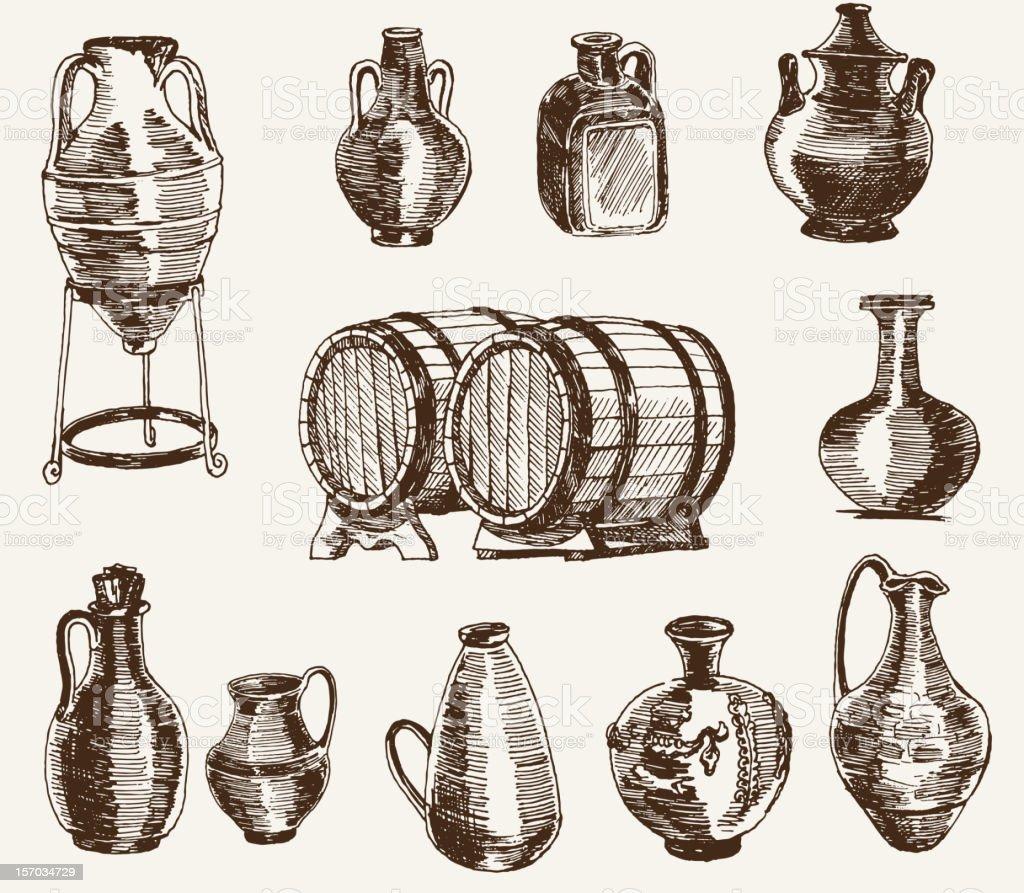 Jarras y dos barriles de vino - ilustración de arte vectorial