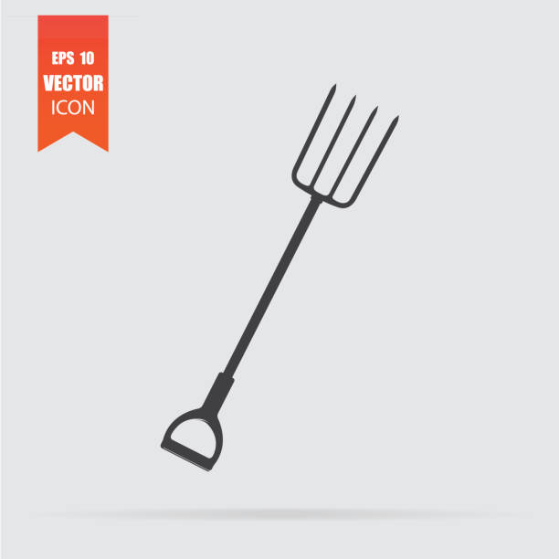 Pitchfork icon in flat style isolated on grey background. Pitchfork icon in flat style isolated on grey background. For your design, logo. Vector illustration. pitchfork agricultural equipment stock illustrations